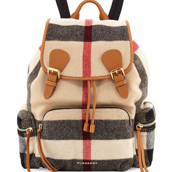 Burberry Runway Large Check Wool Backpack, Check/Gray