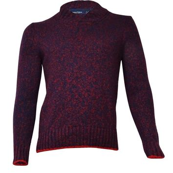 Nautica Men's Shawl Collar Marled Sweater (XL, Ribbon Red)