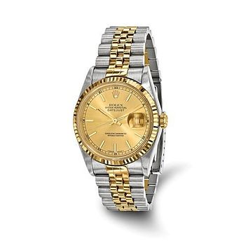 18KY Gold Steel Certified Pre-Own Champagne Rolex Watch