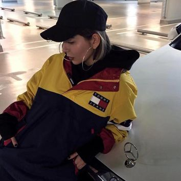 """""""Tommy Jeans"""" Unisex Fashion Retro Multicolor Stitching Letter Embroidery Long Sleeve Couple Hooded Windbreaker Coat Tops"""