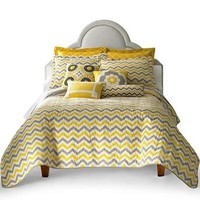 Adorable 3pc Yellow Gray and White Reversible Chevron Full Queen Quilt Set