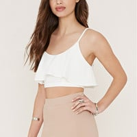 Crepe Flounce Cropped Cami