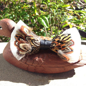 Letterman- Brown and White feathered Bow Tie
