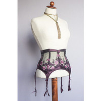 Vtg Style Rigby&Peller Burlesque Lacy Satin Bows Boned Suspender Belt Girdle S | eBay