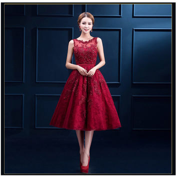 High Quality 6 Layers Luxury Appliques And Beading Elegant Short Prom Dresses 2016 Wine Red Plus Size
