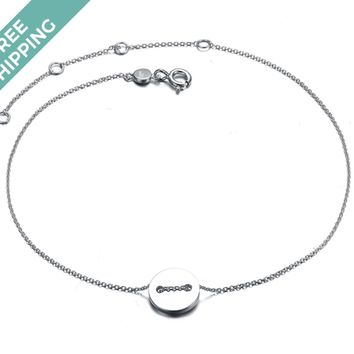 kiz&Co Sterling Silver Button Anklet