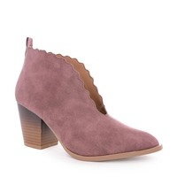 Mauve Prim Scalloped Edge Booties