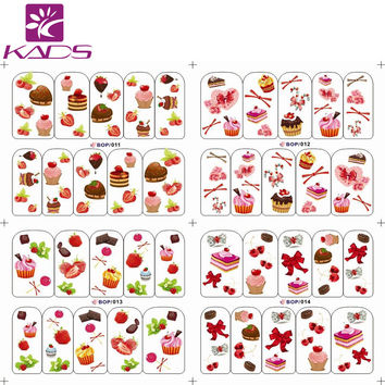BOP011-014 Lovely Cake With Strawberry water transfer nail sticker decals for women nail sticker nails with cheap nail decal