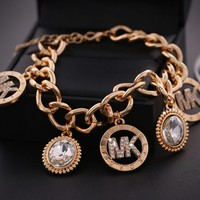 "Hot Sale ""MK"" Michael Kors Fashionable High Quality Women Letter Diamond Bracelet+Best Gift"