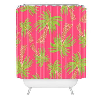 Allyson Johnson Summer Palm Trees Pink Shower Curtain