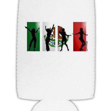Mexican Flag - Dancing Silhouettes Collapsible Neoprene Tall Can Insulator by TooLoud