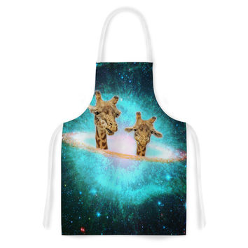 """Suzanne Carter """"Fred & Larry """" Teal Fantasy Artistic Apron"""