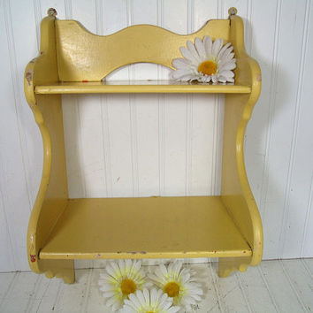Vintage Happy Yellow Enamel Wooden Display Shelf - Retro Shabby Chippy Paint Cottage Style Storage - 2 Shelves Wall Hanging Organizer Unit
