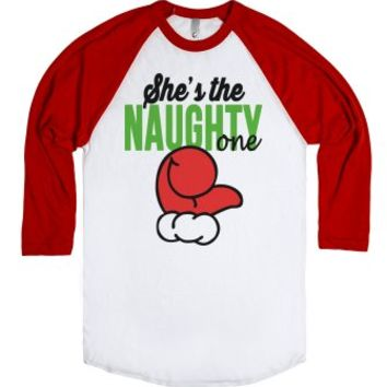 She's the Naughty One-Unisex White/Red T-Shirt