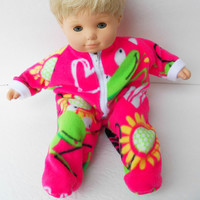 "American Girl Bitty Baby Clothes 15"" Doll Clothes Bright Pink Heart Daisy / Sunflower Ant Zip Up Pajamas Pjs Polar Fleece Sleeper Feetie"