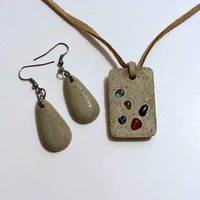 Concrete Necklace, Concrete Earrings, Concrete Jewelry, Teardrop Earrings, Concrete Pendant