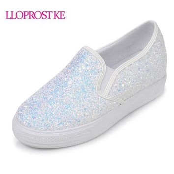 LLOPROST KE Bling PU leather Shoes Woman Slip-on Casual Ladies Loafers Fashion Glitter Flats Platform Plus Size 30-44 dxj1931