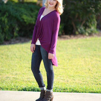 To Be or Knot To Be Tunic - Plum Shorter Length