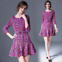 European Style Women Colorful Houndstooth Plaid Dress 2017 New Spring Ladies Ruffles Wool Slim Party Dresses vestidos mujer
