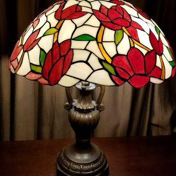 "25"" Tiffany Style Lamp, Stained Glass Lamp, Glass Lamp Shade, Shabby Chic Rose Lamp Shade"
