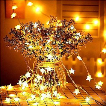 New Year 1.5M 3M 6M LED Star String Lights Fairy Garland Waterproof For Christmas Wedding Home Decoration Battery Powered