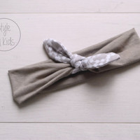 Light TAUPE Top Knot Headband Taupe and White Print Bow Headband Knot Toddler Headband Head Wrap Baby Bow Headband Newborn Knot Headband