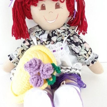 vintage style rag doll handmade cloth soft body ragdoll redhead brown eyes NF134