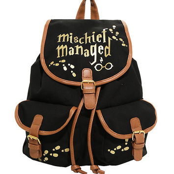 Harry Potter Mischief Managed Slouch Backpack