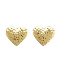HAMMERED METALLIC HEART STUD EARRINGS