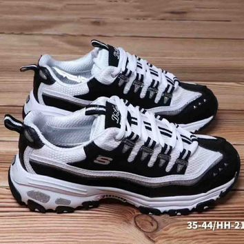 Skechere Air Cooled Trending Casual Running Sports Sneakers Shoes White+Black G-A36H-MY