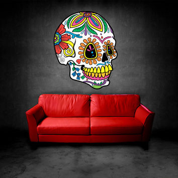 Full Color Wall Decal Mural Sticker Decor Art Beautyfull Cute Sugar Skull Bedroom Curly modern fashion (col557)