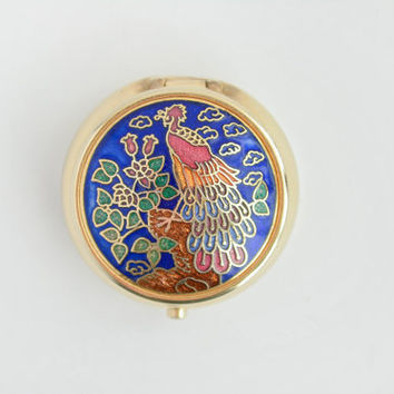 Vintage Gold Pill Box with Peacock Design - Floral