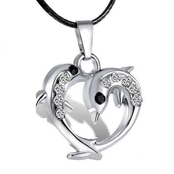 Women Silver Crystal Dolphin Heart Pendants  Necklace