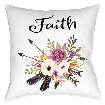 Watercolor Flowers Faith Indoor Decorative Pillow