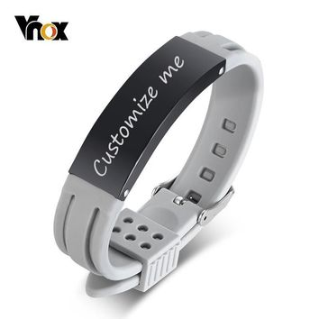 Vnox Customizable ID Bracelets for Men Bangle Adjustable Silicone Band Stainless Steel Tag Casual Male HOMBRE Pulseira