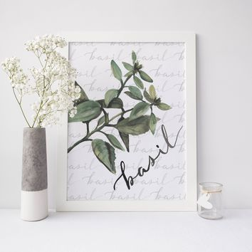 Basil Herb Kitchen Art Print