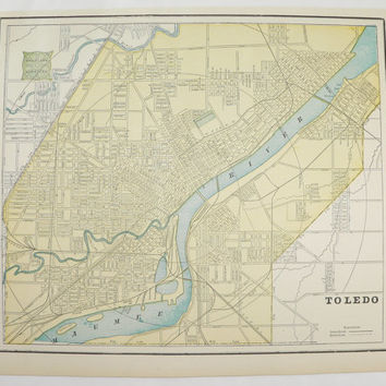 Vintage Map Toledo Ohio Map Detroit Michigan 1894 Old City Street Map, Historical Map, Gift Idea for Home, Office Decor, Antique Art Map