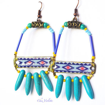 Turquoise blue Beaded Earrings Hand Crafted Navajo Native american style seed bead jewelry