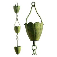 SheilaShrubs.com: Verdigris Flower Cup Rain Chain - Full Length R253 by Patina Products: Rain Chains