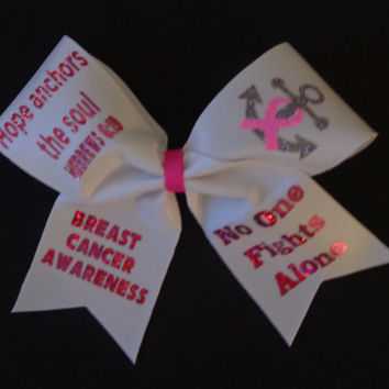 Breast Cancer Awareness Cheer Bow Hope Anchors the Soul