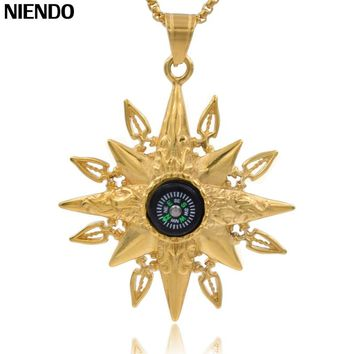 NIENDO Mountaineerin Travel Sailing Style Starfish Pendant Gold Color Stainless Steel Compass Male  Necklace 61mm*53mm P983