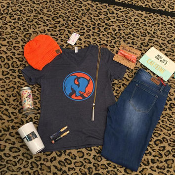 Blue V-Neck with Rumble t-shirt