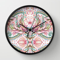 Lily, Leaf & Triangle Pattern – multi-color version Wall Clock by Micklyn