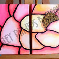 Peach Rose Diptych Painting acrylic on by PaisleyPinupsbyLeahE