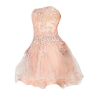 VILAVI Ball Gown Sweetheart Short Tulle Crystal Appliques Graduation Dresses