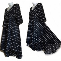 VINTAGE Chiffon BLACK Dress Cocktail Party Baby Doll High-Low Waterfall Mullet Hem SMALL