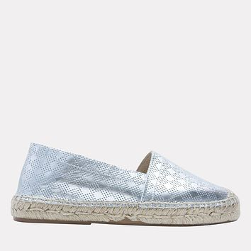 Ilia Metallic Leather Slip On Espadrille (Silver)