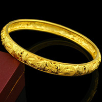 Ethiopian Bangles For Women 24k Gold Color Dubai Bangles&Bracelet African/Ethiopian/Arab/Kenya/Middle East Wedding Gifts