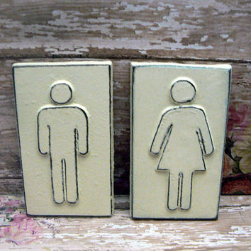 Restroom Bathroom Toliet Cast Iron Sign His Hers Women Men Ladies Gentlemen Plaque OFF White Wall Decor Shabby Style Chic Office Business