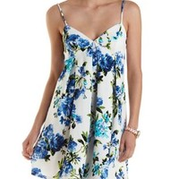 Blue Combo Floral Print Empire Waist Dress by Charlotte Russe